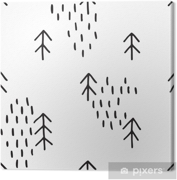 Scandinavian pattern with fir trees. Seamless winter patterns, hand drawn in black ink. Perfect for gift wrapping or printing on fabric. Seamless minimal christmas pattern. Canvas Print - Winter