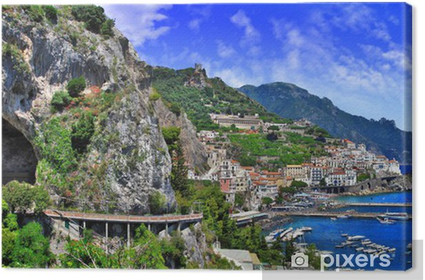 scenic Amalfi coast, view with cave and serpantine road Canvas Print - Themes