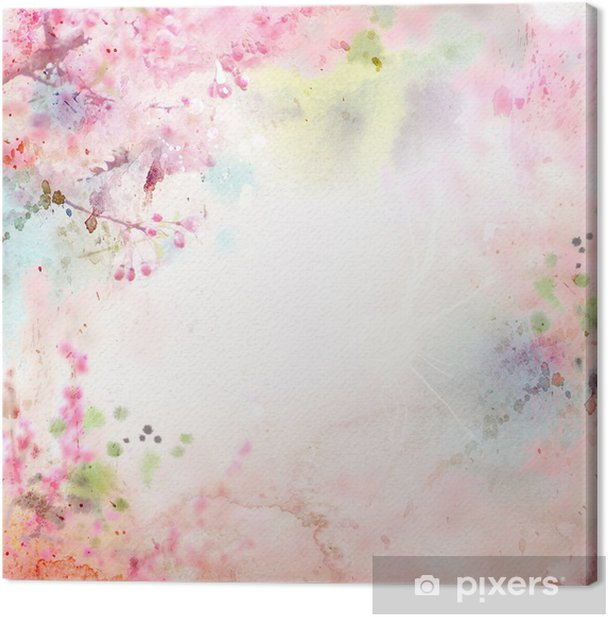 Scenic watercolor background, floral composition Sakura Canvas Print - Styles