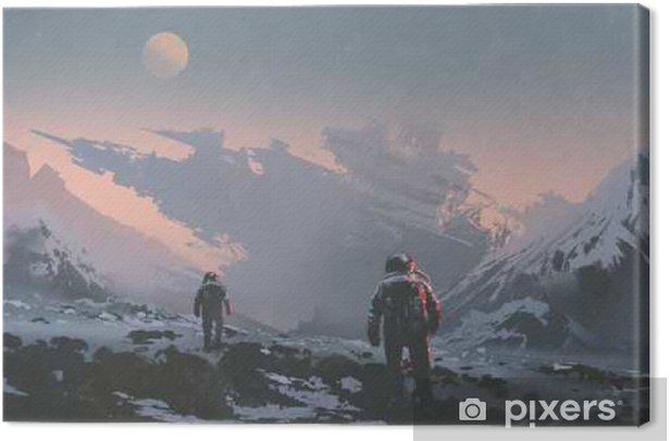 sci-fi concept of astronauts walking to derelict spaceship on alien planet, illustration painting Canvas Print - Hobbies and Leisure