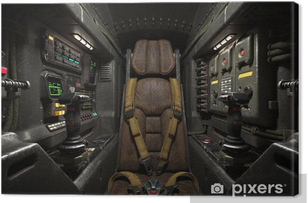 Science fiction pilot's seat in the cockpit  Futuristic spaceship cockpit   Old brown leather pilot seat with yellow safety belts  Sci-fi space fighter