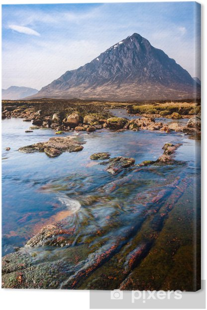 Scottish highlands landscape scene with mountain and river Canvas Print - Themes