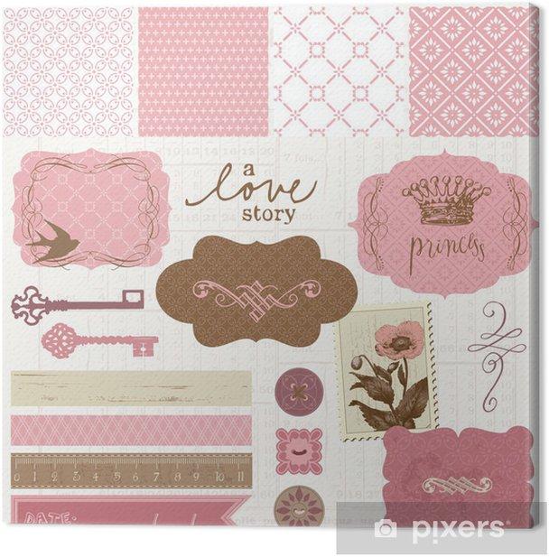 Scrapbook design elements - Vintage Love Set Canvas Print - Textures