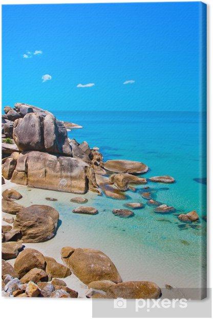 Sea, shore and stones in Koh Samui,Thailand Canvas Print - Asia