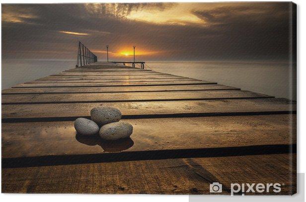 Sea sunrise at the Black Sea coast near Varna, Bulgaria Canvas Print - Themes