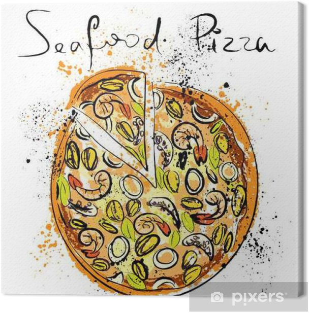 Seafood pizza, drawn in chalk on a blackboard Canvas Print - Food