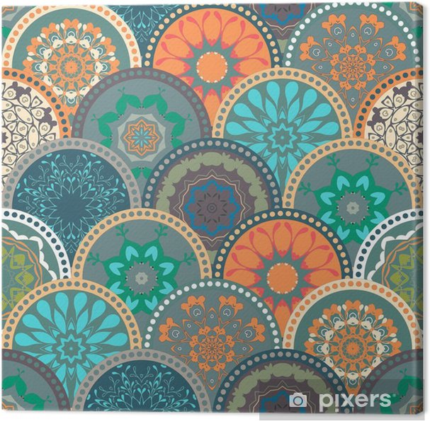 Seamless abstract pattern frame of trendy colored floral flower tile circles. For wallpaper, surface textures, textile. Summer-Autumn Design. India, Islam ethnic style. Green, orange, blue. vector Canvas Print - Graphic Resources
