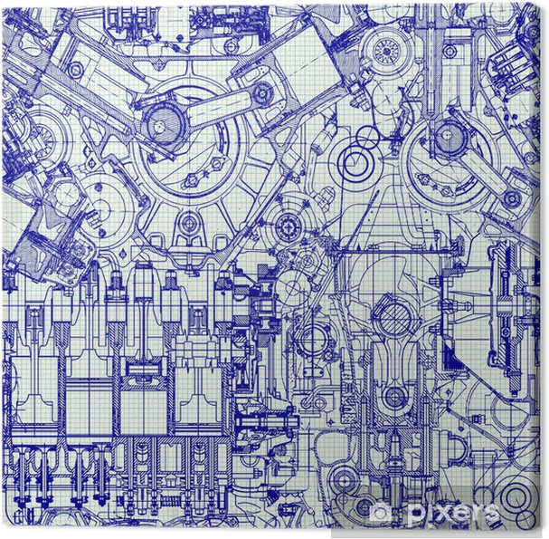 Seamless Background Drawing Old Engine On Graph Paper Canvas Print