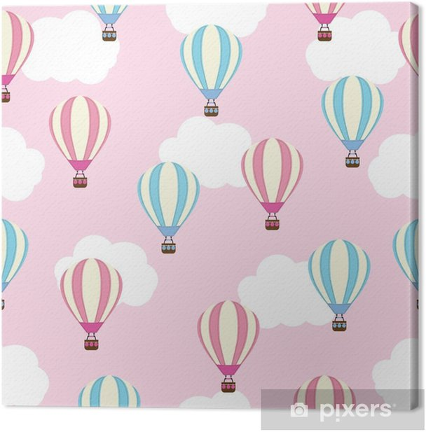 Seamless Background Of Baby Shower Illustration With Cute Hot Air Balloon On Pink Background Suitable For Kid Wallpaper Postcard And Scrap Paper Canvas Print Pixers We Live To Change