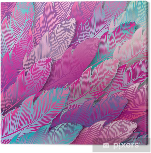 Seamless background of iridescent pink feathers, close up Canvas Print - Styles