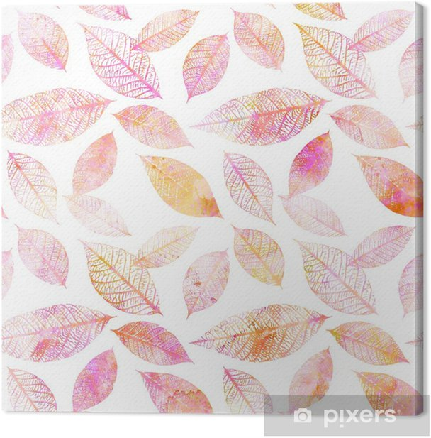 Seamless background pattern of pink toned watercolor leaves Canvas Print - Plants and Flowers