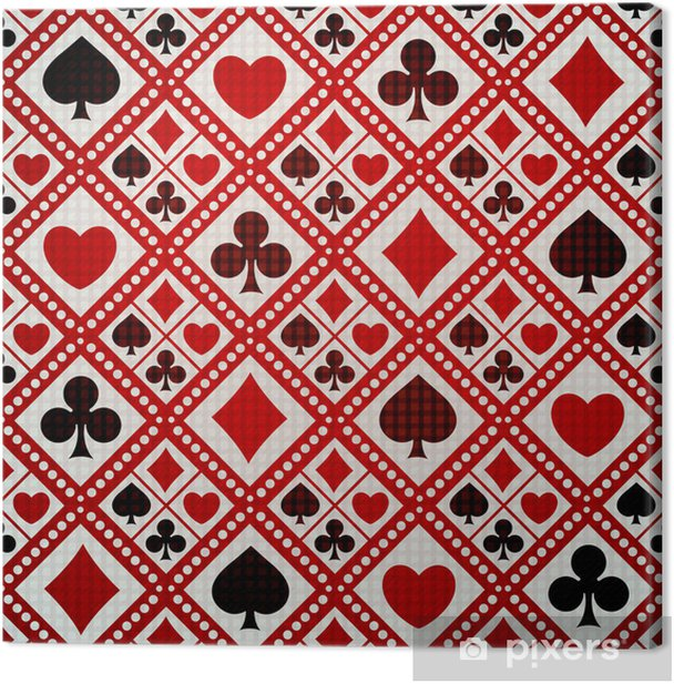 Seamless background playing card suits Canvas Print - Entertainment