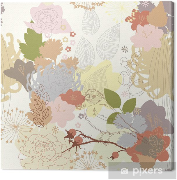 seamless background with abstract botanical ornament Canvas Print - Themes