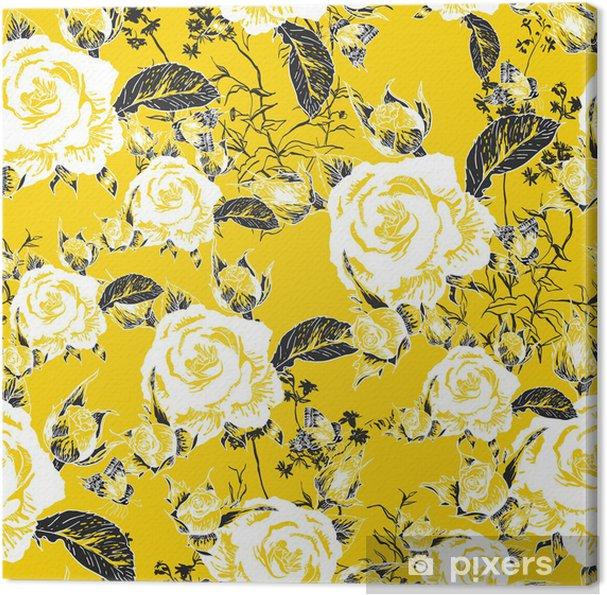 Seamless background with roses and butterflies Canvas Print - Styles