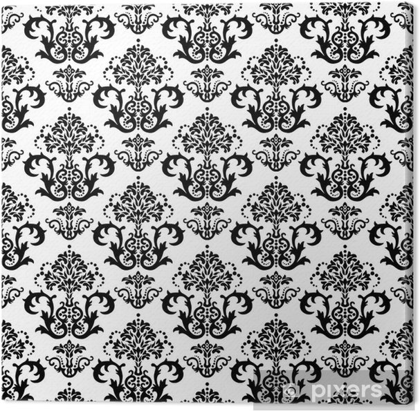 Seamless Black And White Floral Wallpaper Canvas Print