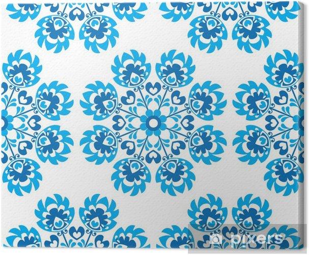Seamless blue floral Polish folk art pattern - wycinanki Canvas Print - Travel