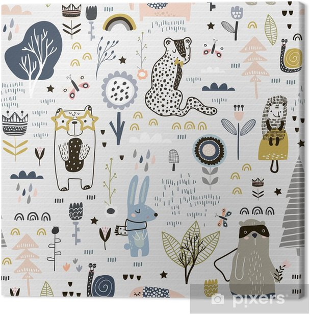 Seamless Childish Pattern With Fairy Flowers Bear Bunny Leopard Hedgehog Creative Kids City Texture For Fabric Wrapping Textile Wallpaper Apparel Vector Illustration Canvas Print Pixers We Live To Change