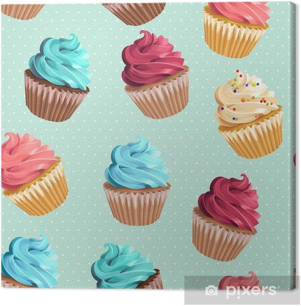 Seamless cupcakes and polka dot Canvas Print - Food