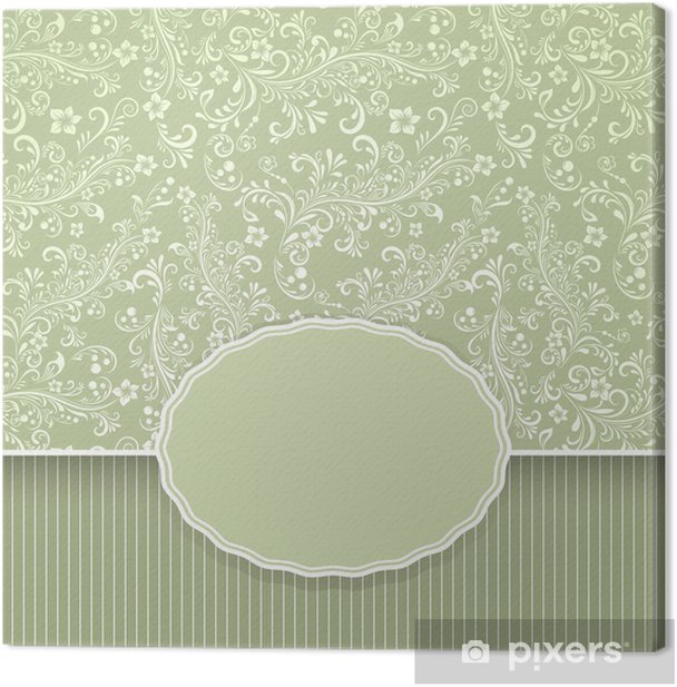 Seamless dark green floral vintage background Canvas Print - Backgrounds