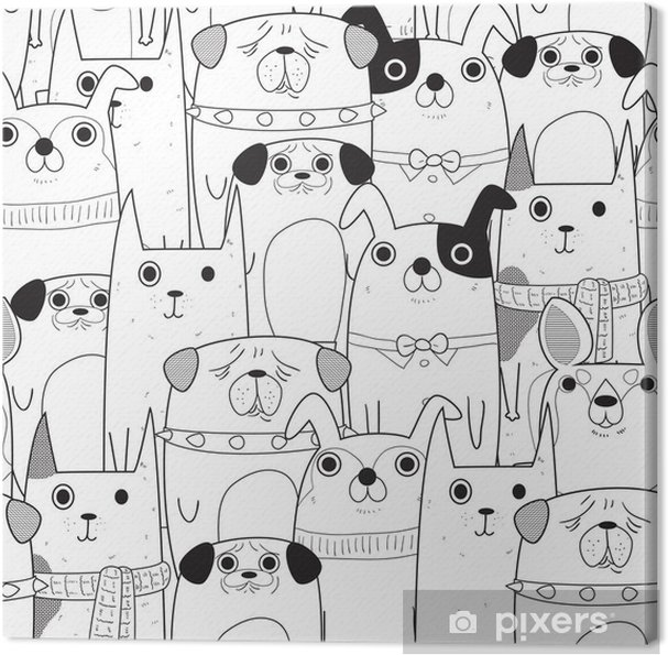 Seamless Dogs pattern Canvas Print - Animals