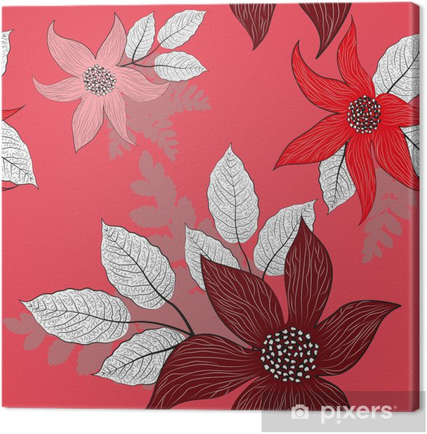 seamless floral pattern, vector illustration Canvas Print - Flowers