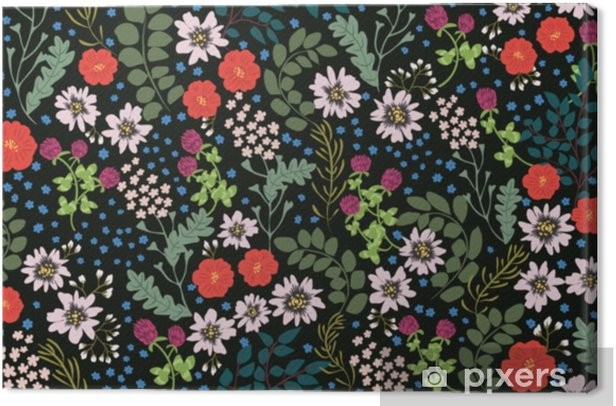 Seamless Folk Pattern In Small Wild Flowers Country Style