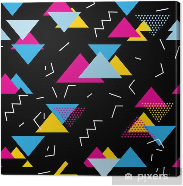 Seamless geometric pattern with magenta, blue, yellow triangles in pop art, retro 80s style. With lines, zigzag, dot on black background. Canvas Print - Lifestyle