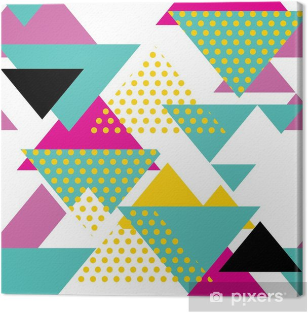 Seamless geometric pattern with magenta, green, yellow triangles in pop art, retro 80s style. With dot on white background. Canvas Print - Lifestyle