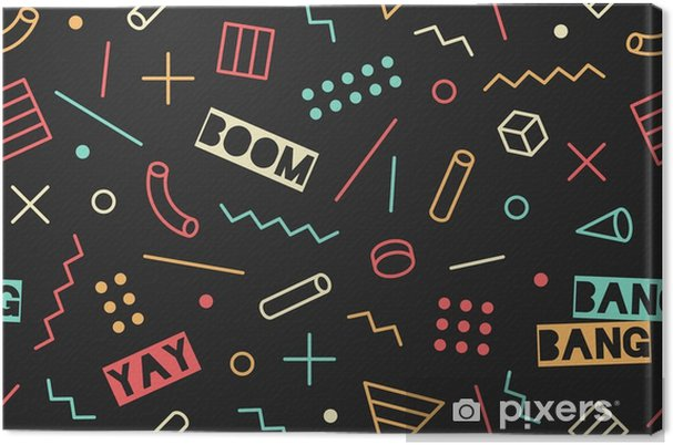 Seamless graphic memphis pattern 80s-90s trendy styles on black background   Colorful pattern with different shapes objects  Design for wrapping paper,