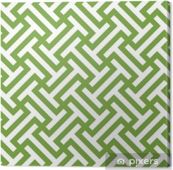 Seamless green and white ethnic op art tribal pattern vector Canvas Print - Graphic Resources