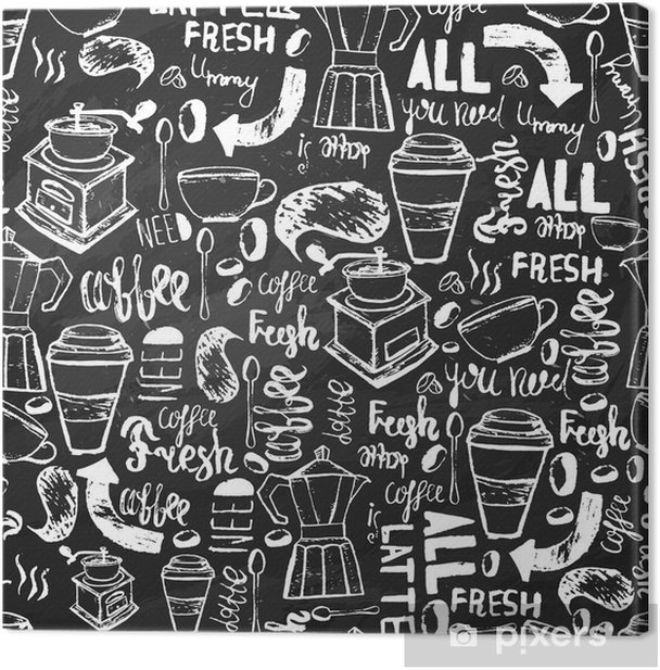 Seamless hand-drawn coffee seamless pattern. Coffee pattern with lettering. Vector Coffee pattern on dark background for wrapping, banners. Canvas Print - Food