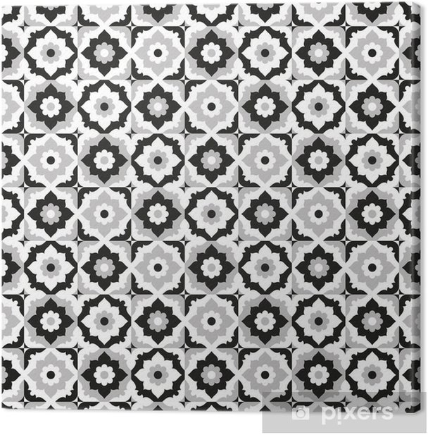 Seamless pattern black and white ceramic tile Canvas Print - Tiles
