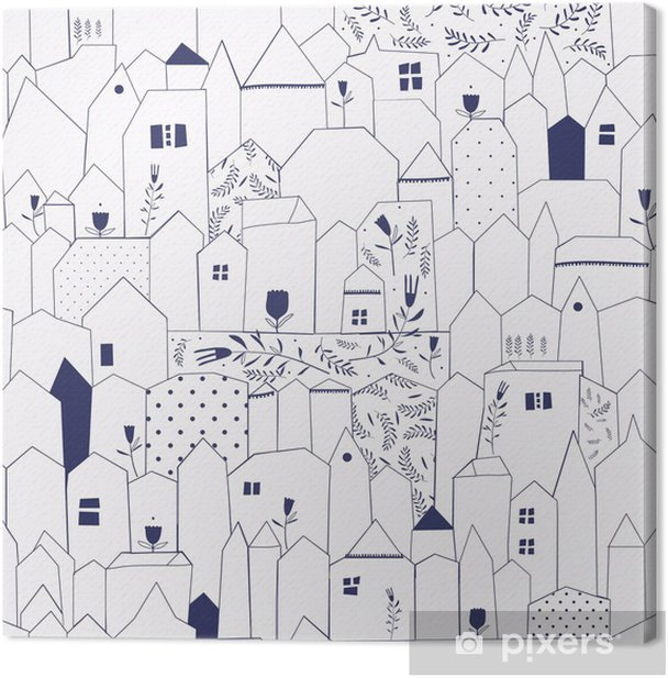 Seamless pattern. Figure cities in vintage style. Canvas Print - Styles