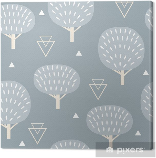 Seamless pattern in modern Scandinavian style. Vector geometry background of north nature. Canvas Print -