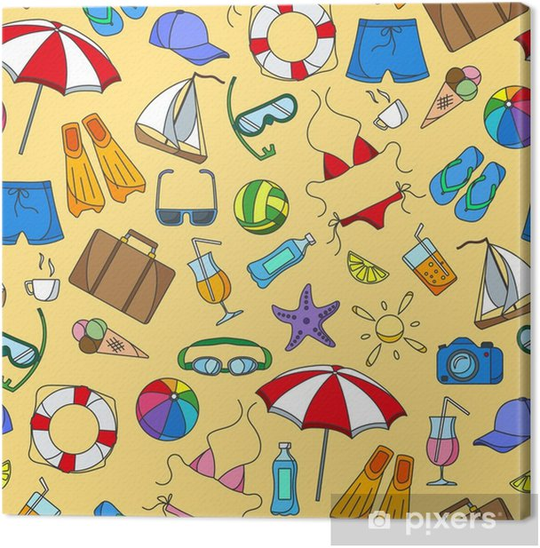 Seamless pattern on the theme of summer holidays in hot countries, simple color icons on yellow background Canvas Print - Hobbies and Leisure