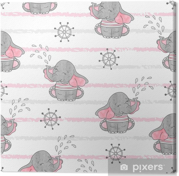 seamless pattern with cute sailor elephants vector background baby