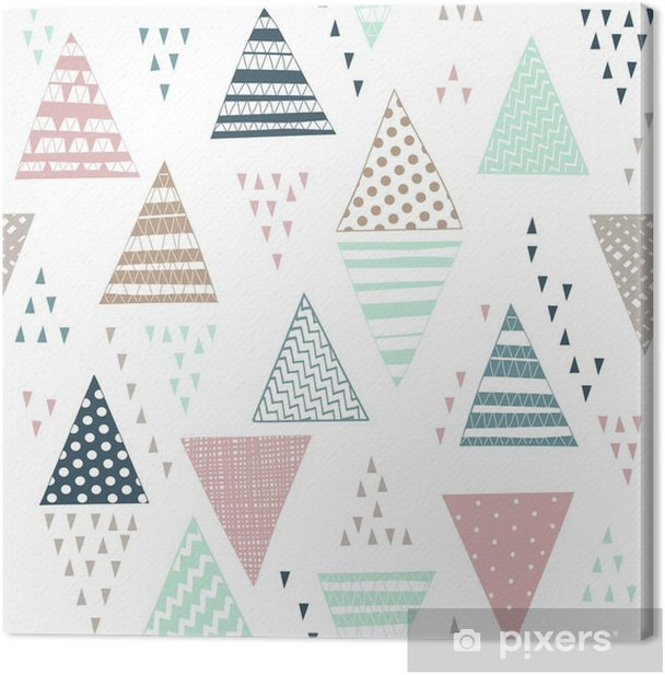Seamless pattern with decorative hand-drawn triangles. Canvas Print - Graphic Resources