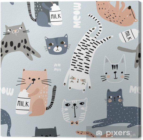 Seamless Pattern With Diffe Funny Cats Creative Childish Texture Great For Fabric Textile Vector Ilration Canvas Print