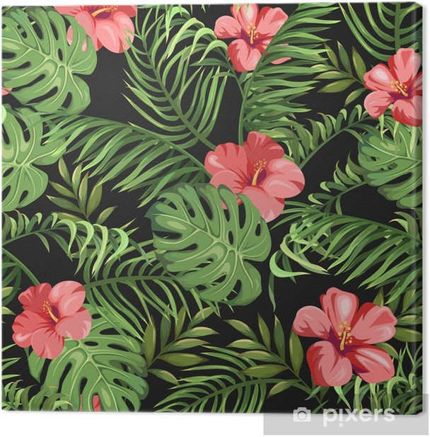 Seamless Pattern With Exotic Flowers And Leaves Tropical Plants