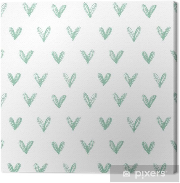 Seamless pattern with hand drawn hearts Canvas Print - Happiness