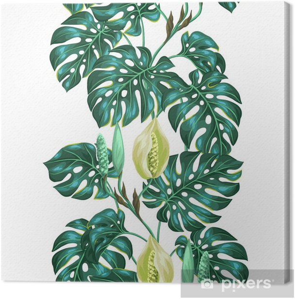 Seamless pattern with monstera leaves. Decorative image of tropical foliage and flower. Background made without clipping mask. Easy to use for backdrop, textile, wrapping paper Canvas Print -