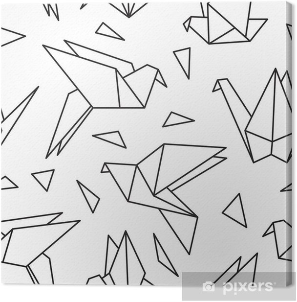 Seamless pattern with origami birds. Can be used for desktop wallpaper or frame for a wall hanging or poster,for pattern fills, surface textures, web page backgrounds, textile and more. Canvas Print - Graphic Resources