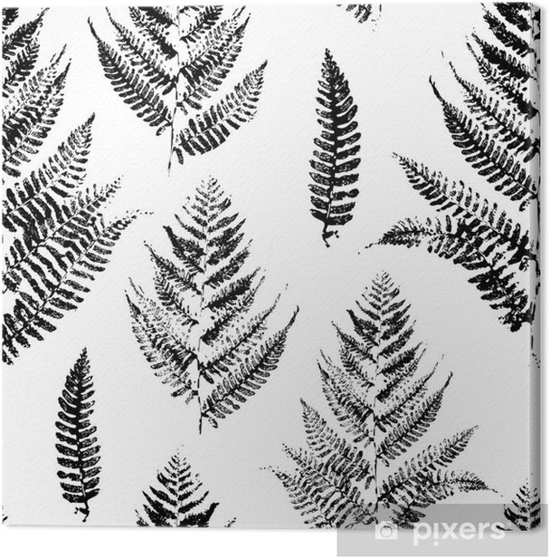 Seamless pattern with paint prints of fern leaves Canvas Print - Industrial
