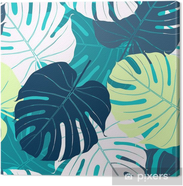 Seamless pattern with palm leaves. Canvas Print - Plants and Flowers