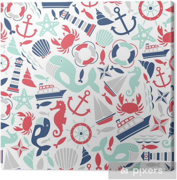 seamless pattern with sea icons Canvas Print - Kids room