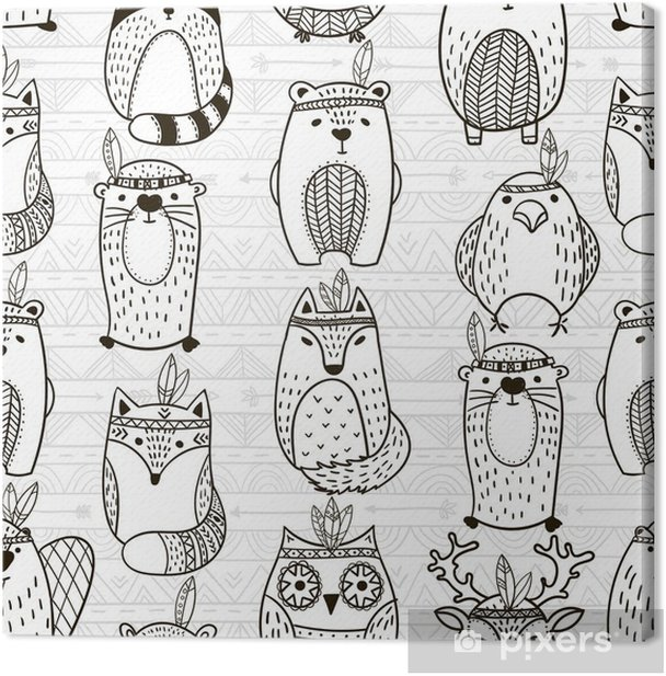Seamless pattern with tribal animals - Illustration Canvas Print - Graphic Resources