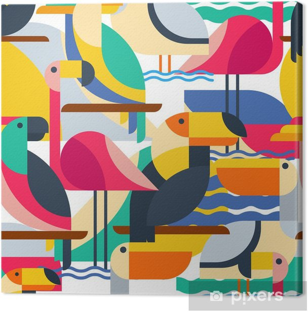 Seamless pattern with tropical birds. Canvas Print - Animals