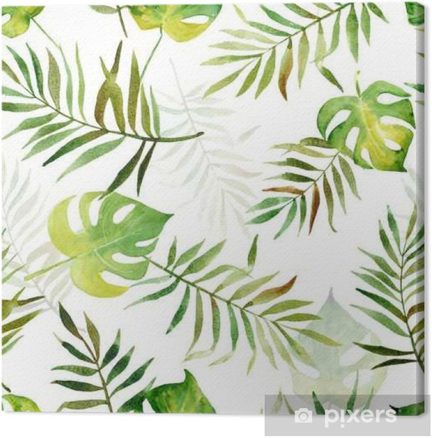 Seamless pattern with watercolor tropical leaves. Canvas Print - Plants and Flowers