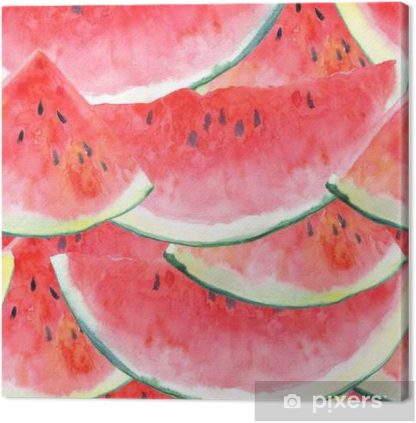 Seamless pattern with watermelon.Fruit picture.Watercolor hand drawn illustration. Canvas Print - Food