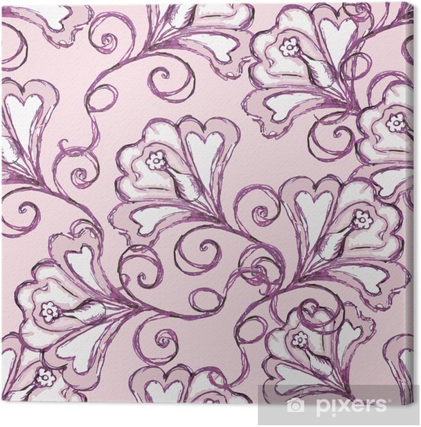 seamless pink background. floral ornament. Canvas Print - Flowers